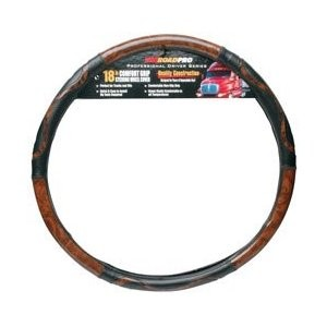 "Roadpro 18"" Black/Woodgrain Steering Wheel Cover RPSW-3004"